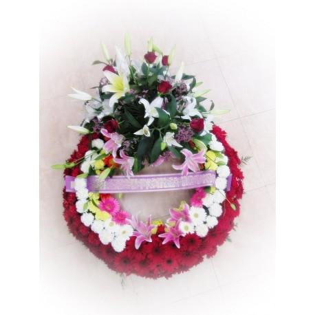 Corona Fúnebre Tonos Rojos