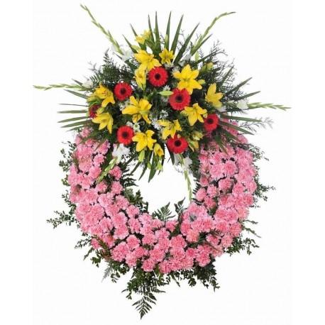Corona Fúnebre Tonos Rosas